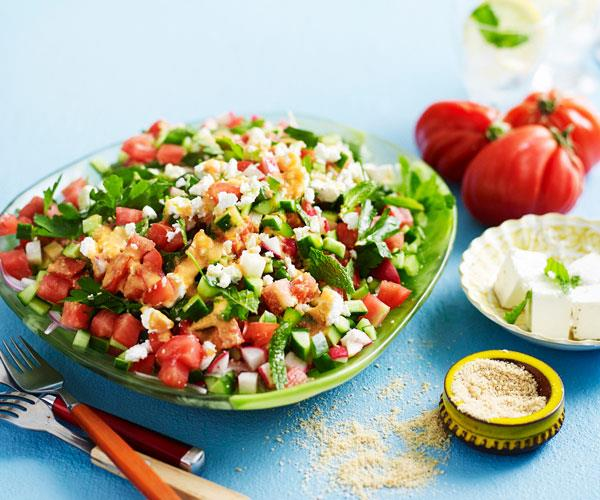 "**[Chopped tomato salad with sesame salt](https://www.womensweeklyfood.com.au/recipes/chopped-tomato-salad-with-sesame-salt-31532|target=""_blank"")**  Give this fresh chopped salad an extra boost of flavour with mint and sesame salt."