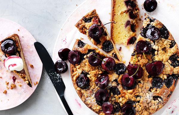Cherry and pine nut crumble cake