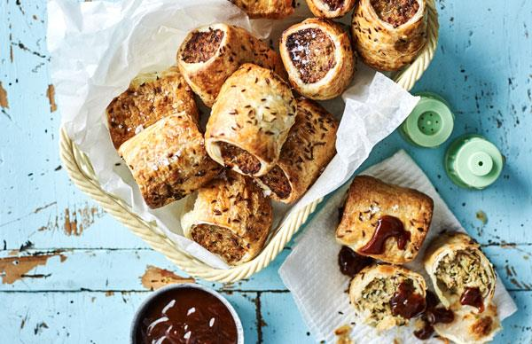 Caramelised onion, dill and caraway sausage rolls