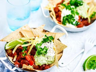 "Black bean chilli with guacamole and corn ""chips"""