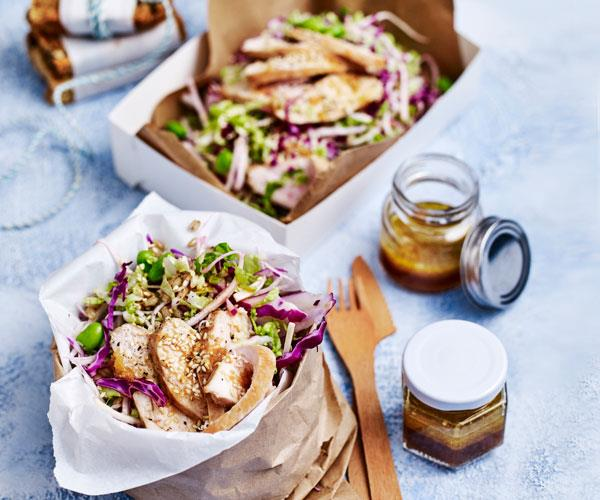 """**[Barley, chicken and sesame slaw](https://www.womensweeklyfood.com.au/recipes/barley-chicken-and-sesame-slaw-31538