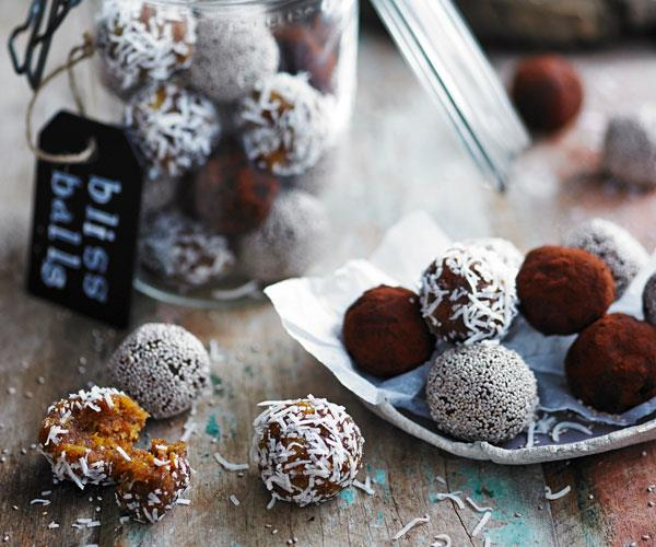 "**[Apricot and tahini bliss balls](https://www.womensweeklyfood.com.au/recipes/apricot-and-tahini-bliss-balls-31539|target=""_blank"")**  The perfect afternoon snack with perfect amount of natural sweetness and packed full of nuts and seeds."