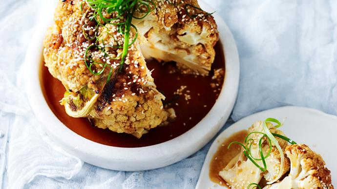 Roasted cauliflower with miso glaze