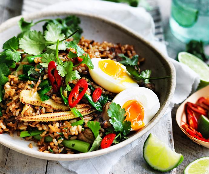 "**[Brown rice nasi goreng with soft-boiled egg](https://www.womensweeklyfood.com.au/recipes/soft-boiled-egg-and-brown-rice-nasi-goreng-28690|target=""_blank"")**  *Dairy-free - can be made gluten-free with use of gluten-free kecap manis*"