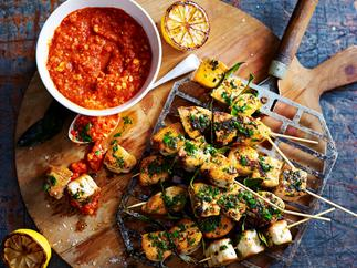 Romesco with fish skewers