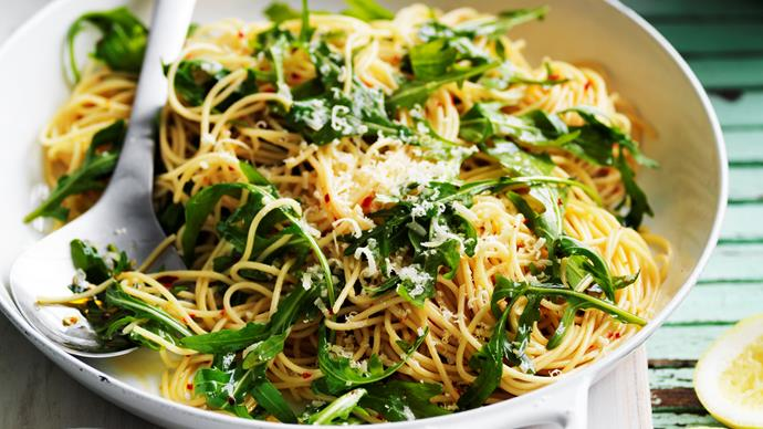 rocket, chilli& lemon spaghetti