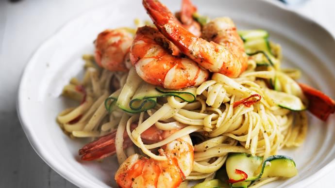 prawn and pesto linguine