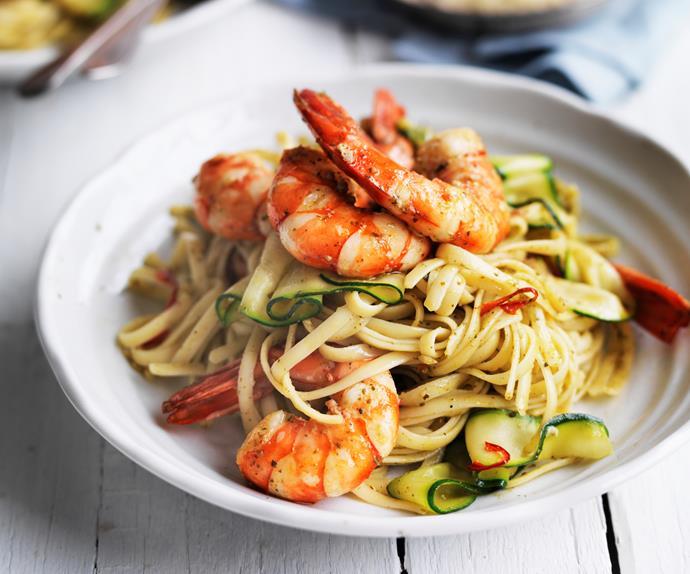 prawn and pesto linguine