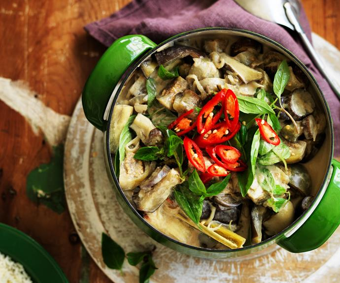 "This fresh and fragrant [vegetarian green curry](https://www.womensweeklyfood.com.au/recipes/thai-eggplant-curry-14646|target=""_blank"") features three types of eggplant to soak up the traditional Thai flavours."