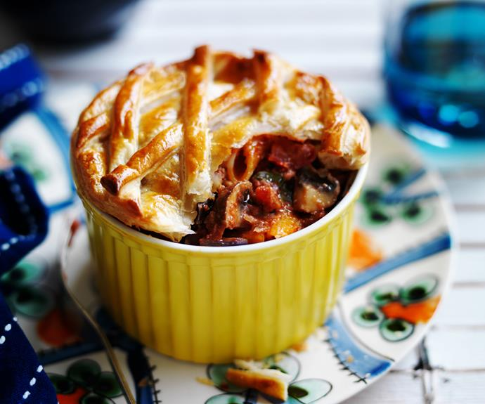 "Give an Italian twist to the classic Australian pie with this filling [vegetarian pasta pot pie](https://www.womensweeklyfood.com.au/recipes/eggplant-and-mushroom-pasta-pot-pie-27851|target=""_blank"")."