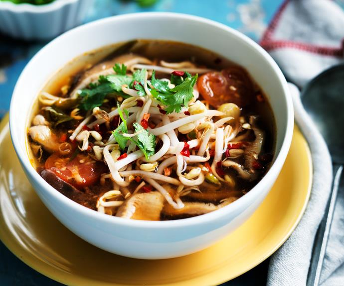 "**[Tom yum soup](https://www.womensweeklyfood.com.au/recipes/tom-yum-soup-8407|target=""_blank"")**  This is our vegetarian take on Thailand's popular hot and spicy prawn soup."