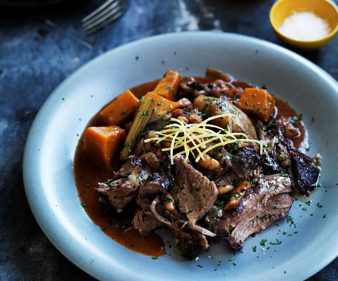slow-cooked lamb with white beans