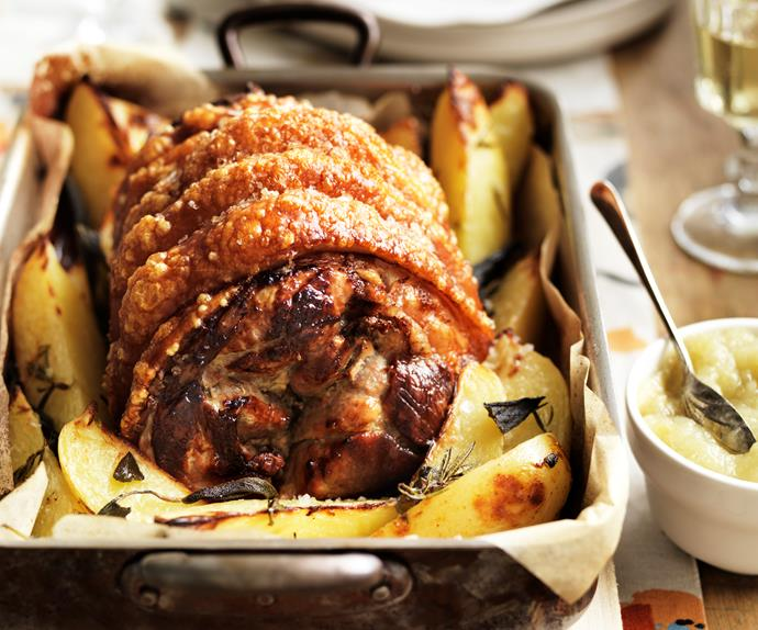 Roast leg of pork with apple sauce