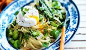 Linguine primavera & poached eggs