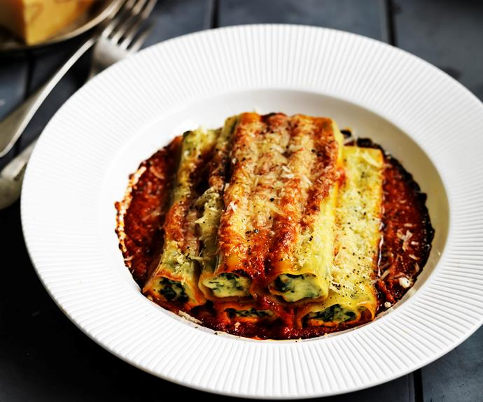 "[**Spinach and ricotta cannelloni**](https://www.womensweeklyfood.com.au/recipes/spinach-and-ricotta-cannelloni-14660|target=""_blank"")  This vegetarian dish is bursting with flavour and perfect for a cool autumn night. It is lovely served with garlic bread and salad, or steamed green vegetables."