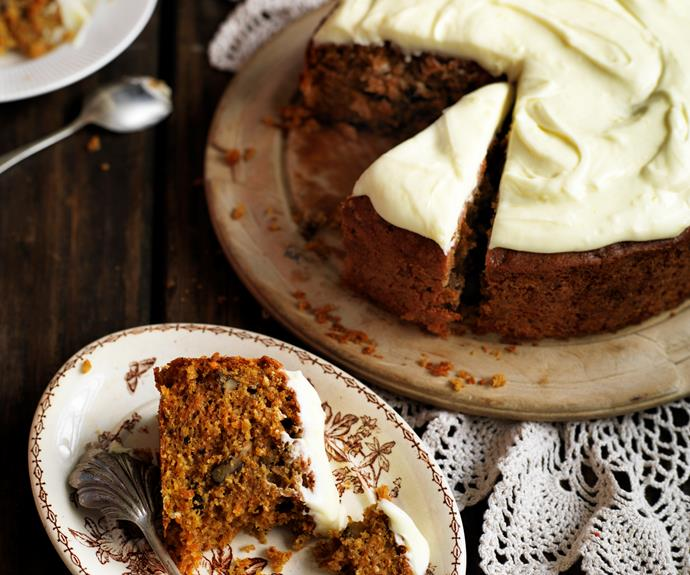 "You'll love this moist and [easy carrot cake](https://www.womensweeklyfood.com.au/recipes/carrot-cake-with-lemon-cream-cheese-frosting-14856|target=""_blank"") with a silky smooth cream cheese frosting"