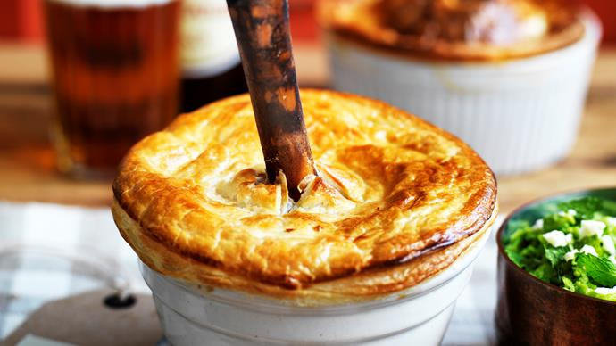 Slow-cooked lamb shank pie