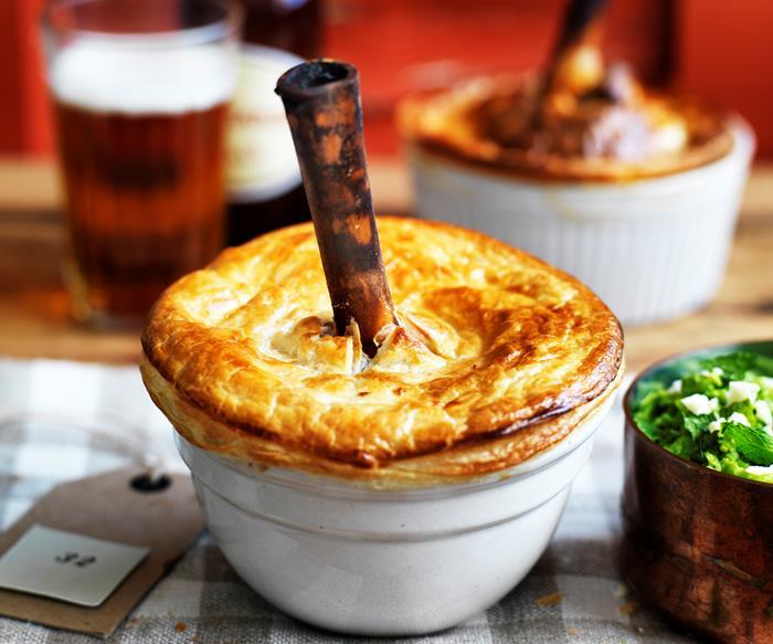 Slow-cooked lamb shank pie