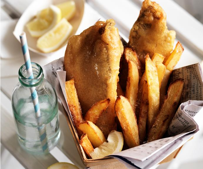 """**[Fish and chips](https://www.womensweeklyfood.com.au/recipes/fish-and-chips-25168