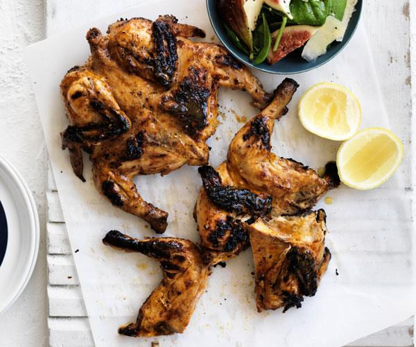 "**[Portuguese chickens with fig salad](https://www.womensweeklyfood.com.au/recipes/portugese-chicken-with-fig-salad-31543|target=""_blank"")**  *Gluten-free - can be dairy-free by omitting parmesan from salad*"