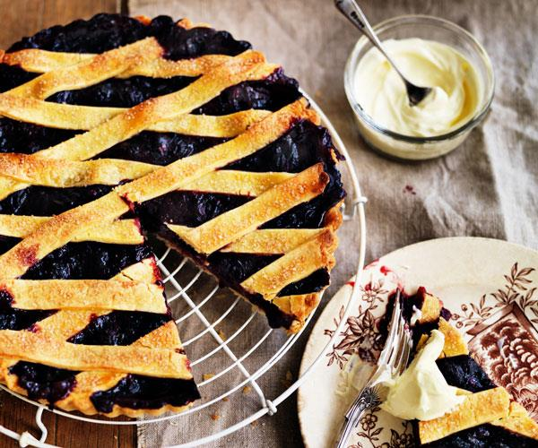 "**[Black-and-blueberry pie](https://www.womensweeklyfood.com.au/recipes/black-and-blueberry-pie-31547|target=""_blank"")**"