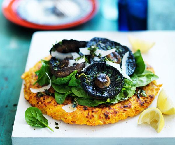 "**[Kumara rösti with portobello mushrooms](https://www.womensweeklyfood.com.au/recipes/kumara-roesti-with-portobello-mushrooms-31550|target=""_blank"")**  Sweet potato rösti with grilled mushrooms are perfect for breakfast or a light lunch."