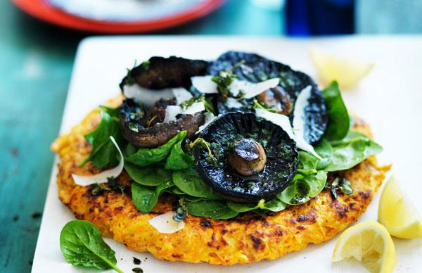 Kumara rösti with portobello mushrooms
