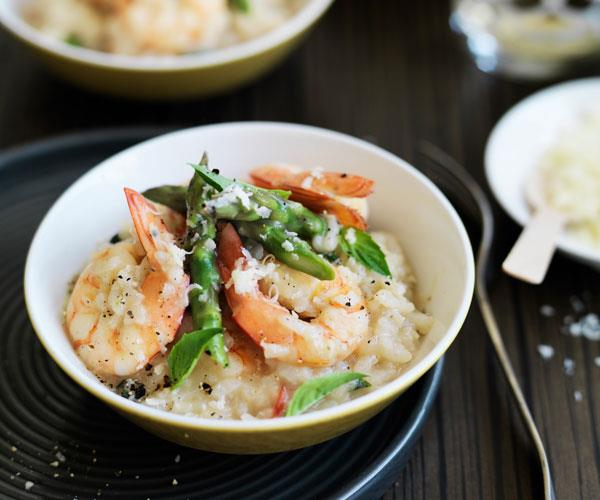 "**[Prawn and asparagus risotto](https://www.womensweeklyfood.com.au/recipes/prawn-and-asparagus-risotto-31552|target=""_blank"")**  *Gluten-free - could be dairy-free by omitting parmesan and using dairy-free butter substitute.*"