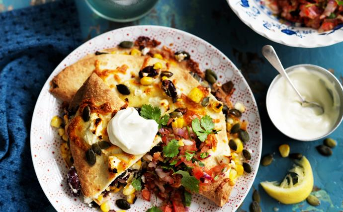 corn and kidney bean quesadillas with tomato salsa