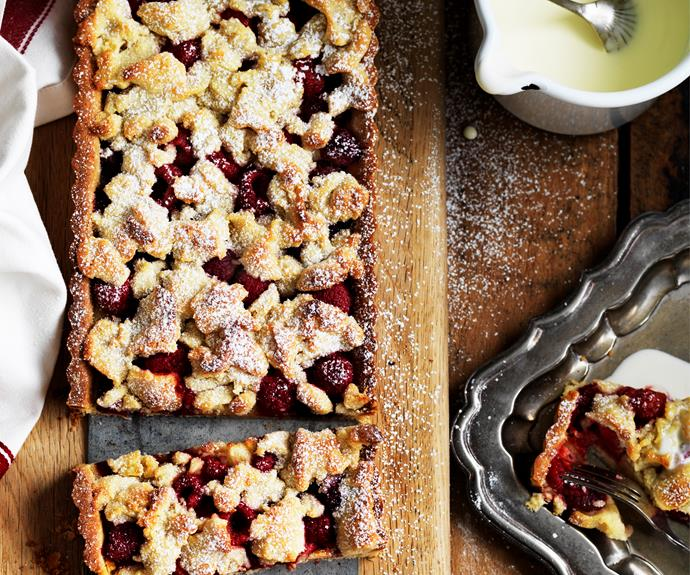 "This [raspberry crumble tart](https://www.womensweeklyfood.com.au/recipes/raspberry-crumble-almond-tart-4758|target=""_blank"") recipe, made with raspberries and a simple crumble crust, is the perfect summer dessert."