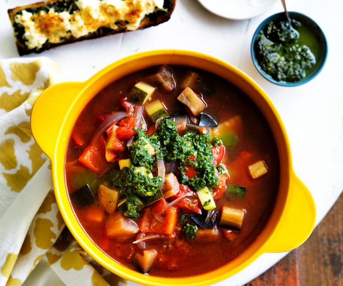 """**[Ratatouille soup with pistou](https://www.womensweeklyfood.com.au/recipes/ratatouille-soup-with-pistou-6214