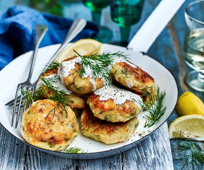 "**[Salmon patties](https://www.womensweeklyfood.com.au/recipes/salmon-patties-14888|target=""_blank"")**  We've jazzed up this classic favourite using fresh salmon fillets, dill and gherkins - served with lemon-mayo for an extra special touch."