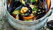 White wine mussels with pearl couscous