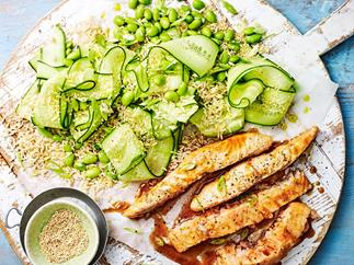 Teriyaki salmon with edamame and cucumber rice salad