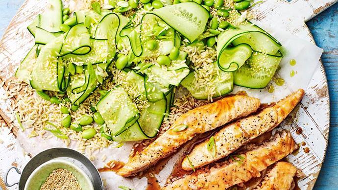 Teriyaki salmon with edamame and cucumber rice salad
