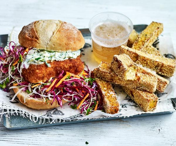 """**[Fish schnitzel butties with polenta chips](https://www.womensweeklyfood.com.au/recipes/fish-schnitzel-butties-with-polenta-chips-31567
