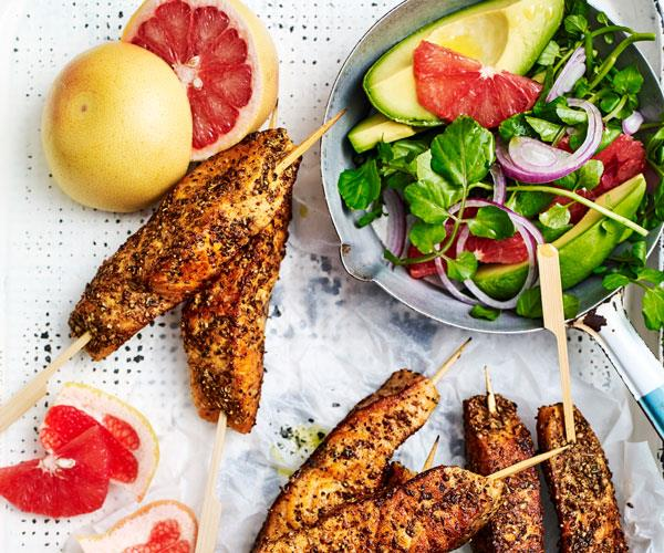 """We've got dinner sorted these [Indian-spiced salmon skewers](https://www.womensweeklyfood.com.au/recipes/salmon-skewers-with-citrus-and-avocado-salad-31568 target=""""_blank"""") perfectly complemented with a citrus & avocado salad."""