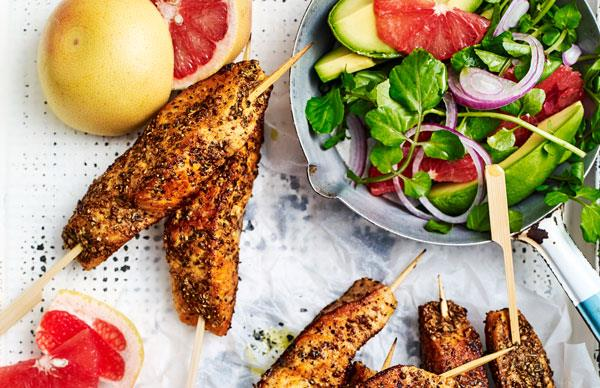 Indian-spiced salmon skewers with citrus & avocado salad