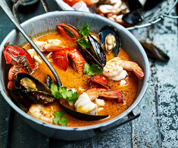 Seafood in coconut & lemongrass broth