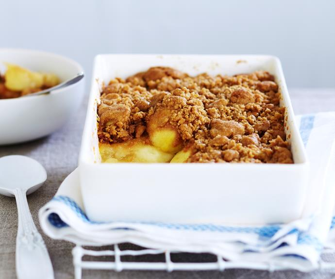 "Fill your house with the warm, comforting scent of [apple crumble](https://www.womensweeklyfood.com.au/recipes/apple-crumble-9324|target=""_blank"")."