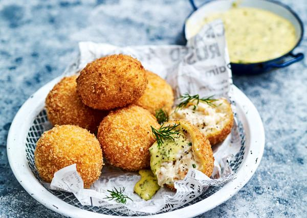 Trout croquettes with herby dipping sauce