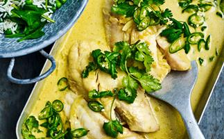 Turmeric fish curry with green rice