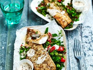 Za'atar snapper with quinoa tabbouleh