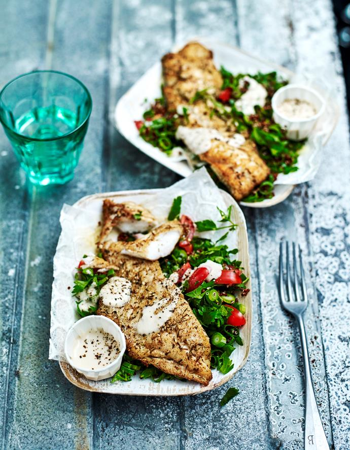 "**[Za'atar snapper with quinoa tabbouleh](https://www.womensweeklyfood.com.au/recipes/zaatar-snapper-with-quinoa-tabbouleh-31601|target=""_blank"")**  Delicate snapper seasoned with za'atar pairs perfectly with the Middle-Eastern flavours of a fresh quinoa tabbouleh."
