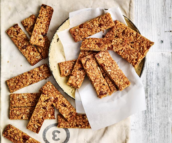 "**[Apricot muesli bars](https://www.womensweeklyfood.com.au/recipes/apricot-muesli-bars-recipe-28817|target=""_blank"")**  Divine apricot muesli bars are the perfect morning snack for an instant energy boost!"