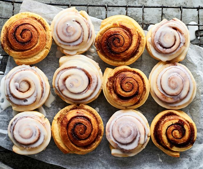 """These [cinnamon scrolls](https://www.womensweeklyfood.com.au/recipes/pie-maker-cinnamon-scrolls-31589