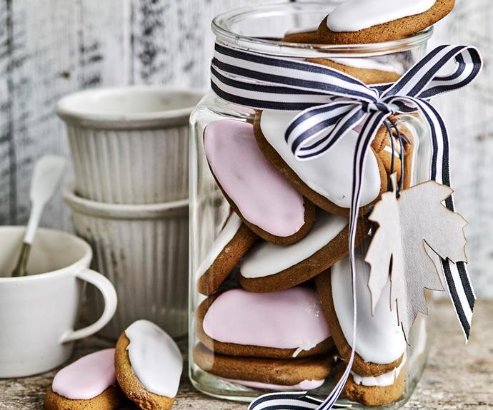 "**[Honey jumbles](https://www.womensweeklyfood.com.au/recipes/honey-jumbles-19602|target=""_blank"")**  These soft-baked gingerbread fingers are light and chewy spiced with honey and ginger, topped with a jumble of pink or white icing"
