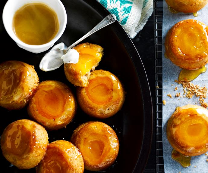 "**[Apricot upside-down cakes](https://www.womensweeklyfood.com.au/recipes/apricot-upside-down-cakes-7392|target=""_blank"")**  These delightful mini cakes are wonderfully light, moist and are topped with beautiful juicy fresh apricot."