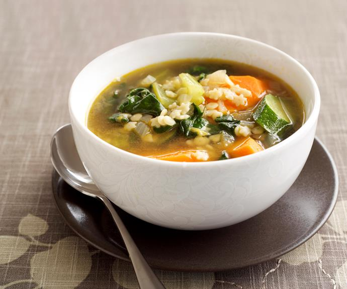 "**[Vegetable soup](https://www.womensweeklyfood.com.au/recipes/vegetable-soup-8493|target=""_blank"")**  Packed with the goodness of vegetables and energy dense pasta, this soup is a quick, easy and filling meal for families on the go. Serve with crusty warm bread to complete the meal."