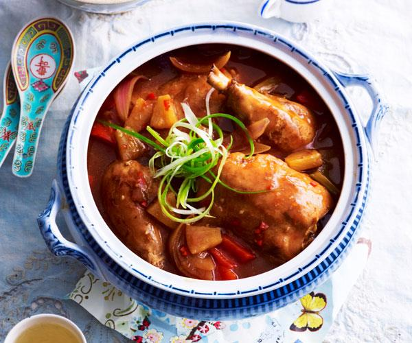 "Delight the family with this [sweet and sour chicken](https://www.womensweeklyfood.com.au/recipes/sweet-and-sour-chicken-31620|target=""_blank"") packed with vegetables and pineapple chunks for a hearty slow-cooked dinner."